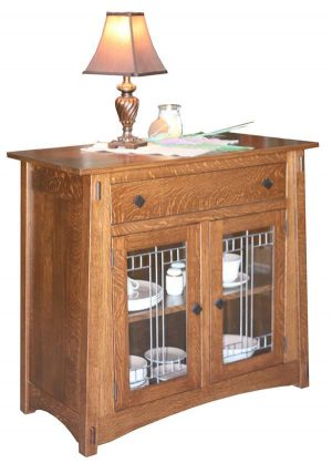 McCoy Server 130 w/ leaded glass doors