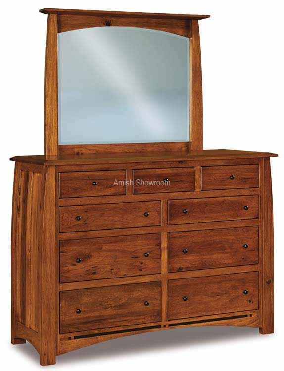 Boulder Creek Dresser with mirror - Amish Built - Solid Wood furniture