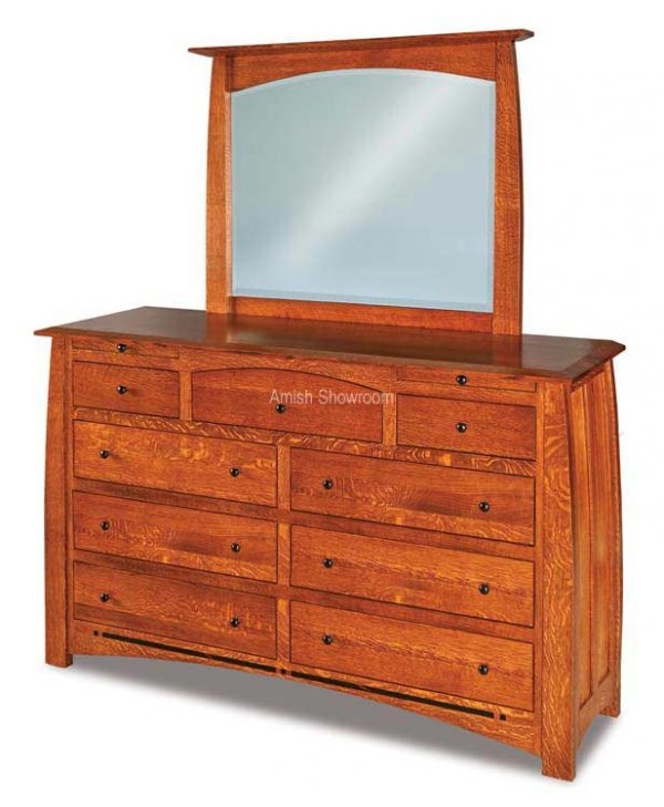 Boulder Creek Dresser with Mirror - Amish Built Solid Wood