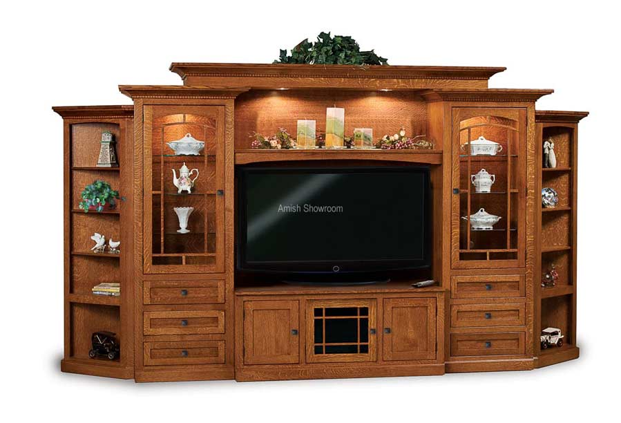 Manhattan Mission 6 Piece Wall Unit With Adjule Bridge And Side Corner Cabinets Fve 049 Mm