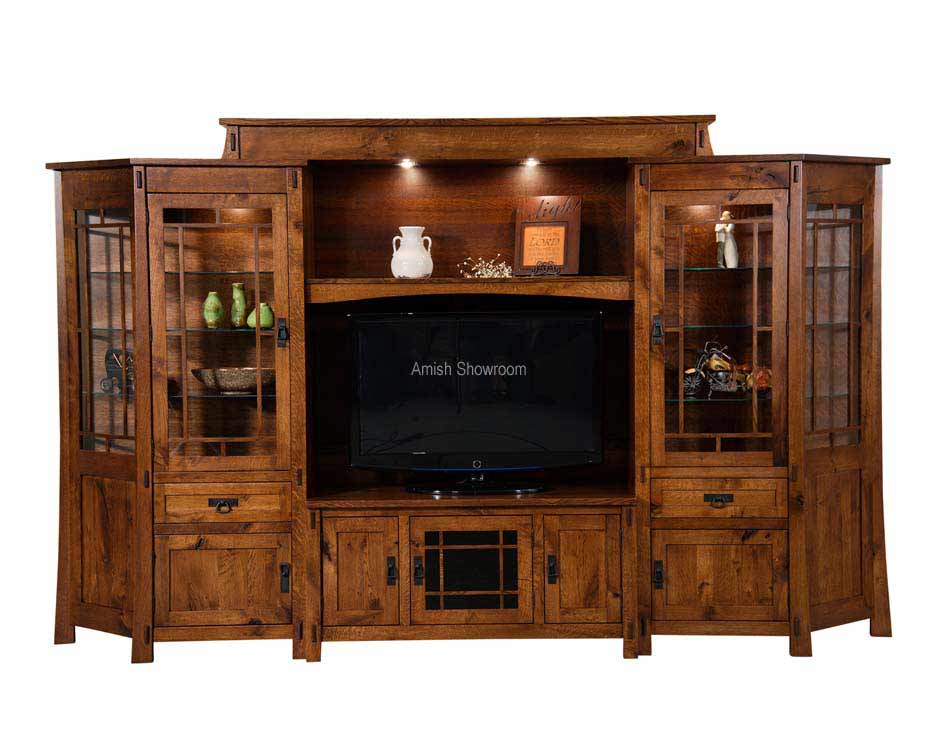 Modesto 6 Piece Wall Unit With Adjule Bridge And Angled Side Cabinets Fve 051 Md