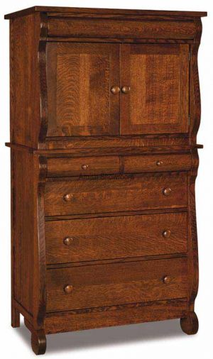 Old Classic Sleigh Chest Armorie 5 Drawers 2 Doors JRO 039