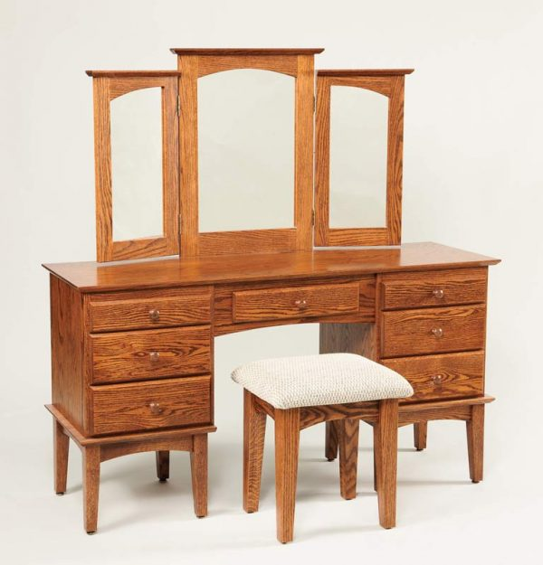 "56"" Shaker Dressing Table w/ trifold mirror 511"