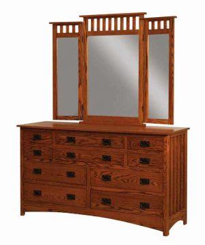 Schwartz Mission Dresser with Mirror - Amish Built - Solid Wood