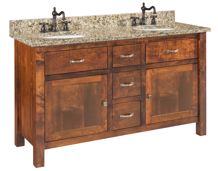 Regal Bathroom Vanity Double Bowl With Frosted Glass Doors